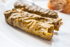 Feuilles de raisin bourré (Dolma) Cuisine de turc et de grec Image libre de droits