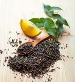Feuilles de thé et citron secs Photos stock
