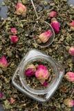 Feuilles de thé vertes avec les bourgeons roses photographie stock