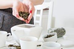Feuilles de thé vertes versées par femme Images libres de droits
