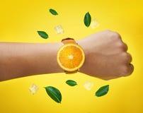 Feuilles de vert de montre de fruit de main masculine et glaçon oranges de port F illustration stock