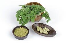 Feuilles du concombre-chinois amer (fuite de moringa oleifera.) Transformé en concombre-chinois amer. Poudre emballée dans les cap Image stock