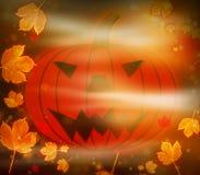 Feuilles effrayantes de potiron et de magie de Halloween Photographie stock libre de droits