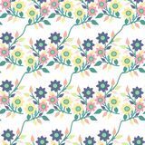 Feuilles et fleurs color?es, dans une conception sans couture de mod?le illustration libre de droits