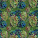 Feuilles et fleurs dans vert, bleu, pourpre fond de vert d'avion Image de vintage illustration stock