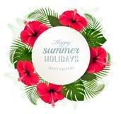 Feuilles et fleurs tropicales avec une bannière de vacances d'été Photos stock