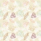 Feuilles et fond stylisés colorés de fleurs illustration libre de droits