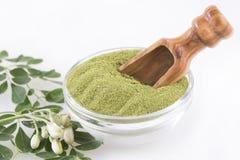 Feuilles et poudre fraîches de moringa - moringa oleifera Images stock