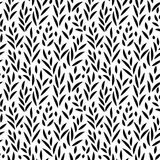 Feuilles noires et blanches modèle sans couture, vecteur Images libres de droits