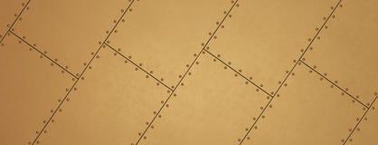 Feuilles rivetées par cuivre comme fond Bannière en métal Image libre de droits
