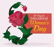 Feuilles, Rose et bourgeon formant le numéro huit pour la commémoration du jour des femmes, illustration de vecteur Photo libre de droits