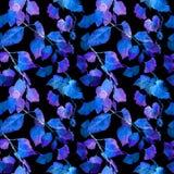 Feuilles rougeoyantes de néon Modèle sans couture mystérieux de nuit watercolor Images libres de droits