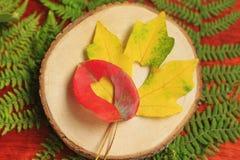 Feuilles rouges et jaunes avec le plan rapproché coupé de coeur sur le fond en bois, images libres de droits