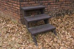 Feuilles sèches d'automne et escaliers en bois photographie stock
