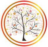 Feuilles tombées par arbres d'automne illustration de vecteur