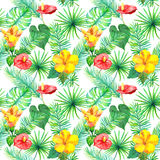 Feuilles tropicales, fleurs exotiques Configuration sans joint de jungle watercolor Photos stock