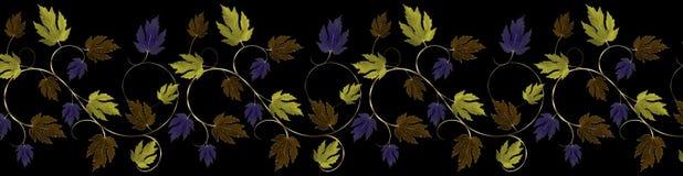 Feuilles vertes, pourpres, en cuivre et d'or et frontière de vigne Images stock