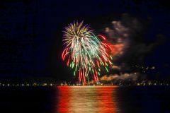 Feux d'artifice à Bad Wiessee, lac Tegernsee Photographie stock