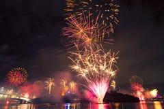 Feux d'artifice à Brisbane - 2014 Photo stock