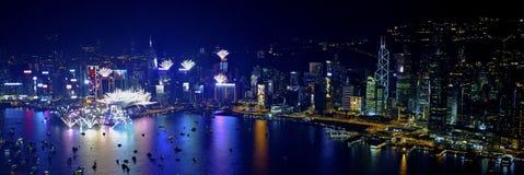 Feux d'artifice 2013 de compte à rebours de Hong Kong Image libre de droits