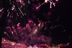 feux d'artifice au cours de la nuit Images libres de droits