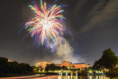 Feux d'artifice au-dessus d'Art Museum, Philadelphie, Pennsylvanie Images libres de droits