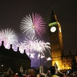 2013, feux d'artifice au-dessus de Big Ben à minuit Photo libre de droits