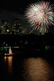 Feux d'artifice au-dessus de Boston Photo stock
