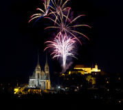 Feux d'artifice au-dessus de Brno Photographie stock libre de droits