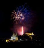Feux d'artifice au-dessus de Brno Photos stock