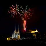 Feux d'artifice au-dessus de Brno Photos libres de droits