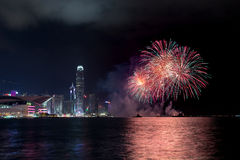 Feux d'artifice chez Hong Kong Photos stock