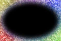 Feux d'artifice colorés avec les bords rougeoyants du grand espace ovale noir de copie illustration stock