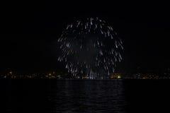 Feux d'artifice d'Ève de nouvelles années de Salonique, Grèce 2017 Images stock