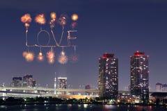 Feux d'artifice d'étincelle d'amour célébrant au-dessus d'Odaiba Japon Photo stock