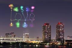Feux d'artifice d'étincelle d'amour célébrant au-dessus d'Odaiba Japon Images stock