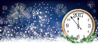 Feux d'artifice 2017 d'étoiles de flocons de neige d'en-tête de Silvester Card Clock Image stock