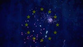 feux d'artifice dans le ciel avec le drapeau d'Eu banque de vidéos