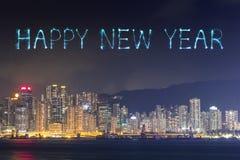 Feux d'artifice de 2017 bonnes années célébrant au-dessus de la ville de Hong Kong Photo libre de droits