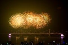 Feux d'artifice de Busan Gwangan 2015 Diamond Bridge image stock