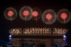 Feux d'artifice de Busan Gwangan 2015 Diamond Bridge photos stock