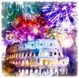 Feux d'artifice de célébration au-dessus de Collosseo l'Italie rome image libre de droits