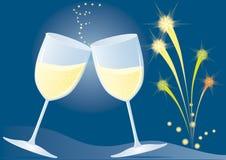 feux d'artifice de cuvettes de champagne illustration libre de droits