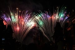 Feux d'artifice de Disneyland Resort Paris Photographie stock