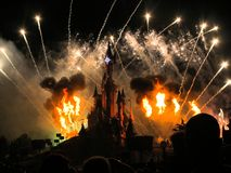 Feux d'artifice de Disneyland Resort Paris Photos stock