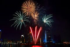 Feux d'artifice de Dubaï Photographie stock