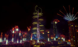Feux d'artifice de Dubaï Image stock