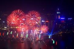 Feux d'artifice 2014 de Hong Kong Photographie stock libre de droits