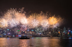 Feux d'artifice de Hong Kong Photographie stock