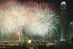Feux d'artifice de Hong Kong pendant l'année neuve chinoise Image libre de droits